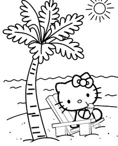 hello kitty at the beach coloring page hello kitty coloring pages kidsdrawing free - Coloring Pages Kitty Summer