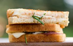 Apple-butter Grilled Cheese (calls for fresh rosemary leaves, but if I add it at all, I will either chop it fine or it will be a bit of crushed dry -- don't enjoy biting into a whole rosemary leaf, reminds me of biting into a pine needle :) )