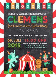 Einladung, Geburtstag, Zirkus, Kinderparty