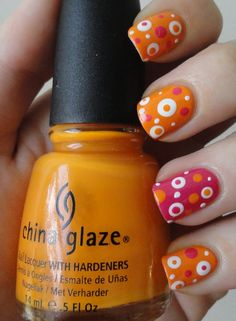 Elemental Styles - Polka Dot Nails  |  Orange: China Glaze Papaya Punch; Pink: OPI Strawberry Margarita; White: Sinful Colors White Creme