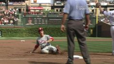 When Chase Utley hit a triple, one ball entered the Wrigley ivy and two came out