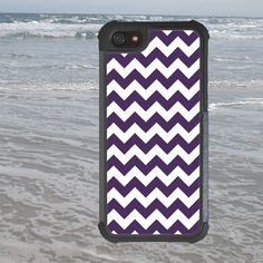 iPhone 4 4S 5 5S Case, Full Black Rubber Interior Plastic Exterior Tough Case, Purple Small Chevron Design, iPhone Tough Case, Phone Case