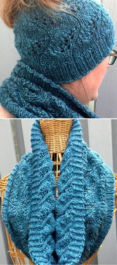 Free Knitting Pattern for Mapleton Bun Hat and Cowl Set - Matching lace messy bun ponytail hat and infinity scarf cowl.