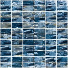 1x2 Inch Industrial Blue Textured Recycled Glass Subway Tile