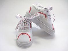 Children's Baseball Shoes, Boys or Girls Hand Painted Sneakers for Baby or Toddler