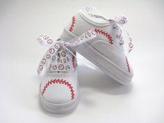 Girls Baseball Shoes Hand Painted Kids by boygirlboygirldesign, $28.00