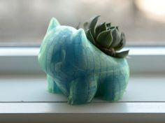 NEW Bulbasaur Planter Aurora Blue Pokemon by SOLIDFACTORY