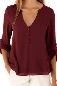 Unique Style V-Neck Button Dip Back Blouse