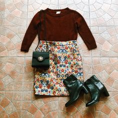 Found at Common Sort - Club Monaco sweater, Celine skirt, Hush Puppies boots and purse