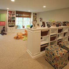 Room Divider for basement....tear down playroom wall and replace with half wall divider. switch office room and play room.