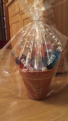Alcohol Bouquet gift. Dry foam used inside flower pot along with stones to keep pot from toppling over. i used a hot gue gun to stick the minitures to kebab skewers and tissue paper at the bottom to hide the foam. all wrapped up in celophane for presentation