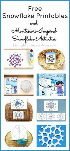Long list of free snowflake printables along with ideas for creating Montessori-inspired snowflake activities using free printables; printables and activities for preschoolers through 1st graders at home or in the classroom