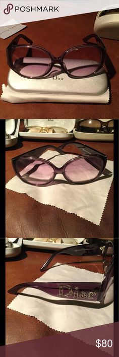 Dior sunglasses 😎 purple frames and tinted lens Great pair of big round Dior sunglasses. I wore these quite a bit so lenses show signs of wear (although when I put them on i don't notice it) . These don't come with a case - I don't have case to fit these anymore. I love 💗 the glasses but they don't look good on me when I see pictures of myself wearing them!!! Dior Accessories Sunglasses