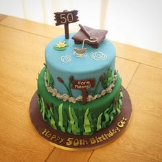 Gone fishing 50th Birthday cake - Little Miss Muffin (@missmuffincakes) on Instagram