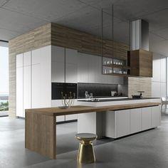 Luxury Kitchen 30 Awesome Black And White Wood Kitchen Design Ideas Best Kitchen Designs, Modern Kitchen Design, Modern House Design, Interior Design Kitchen, Room Interior, White Wood Kitchens, Wooden Kitchen, Rustic Kitchen, Timber Kitchen