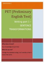 English worksheet: PET writing part 1 (Preliminary English Test) Reported Speech, English Exam, Teaching English, Esl, English Language, Teaching Resources, Sentences, Worksheets, Teacher