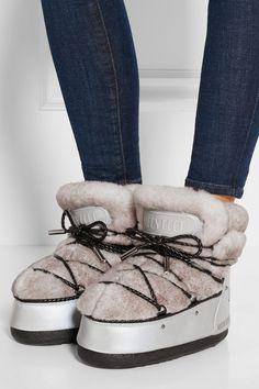 Moon Boot | Après-ski en tissu imperméable et peau retournée MB Buzz par Jimmy Choo | NET-A-PORTER.COM