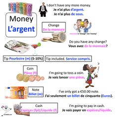 Learn key vocab and phrases to talk about money in French. Happy learning les amis! #frenchmoney www.cecilebb.com