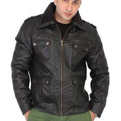 Bareskin black colour genuine leather regular fit jacket for men Womens Black Leather Jacket, Men's Leather Jacket, Leather Jackets, Jackets Online, Motorcycle Jacket, Womens Fashion, Shopping, Awesome, Check