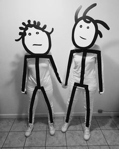 You can both go as Rihanna's stick figure memes with just an all-white outfit with the sticks done in tape. Each look requires a large black-and-white mask Black Girl Halloween Costume, Best Halloween Costumes Ever, Halloween Outfits, Holidays Halloween, Halloween Crafts, Best Costume Ever, Black Costume, Girls Dress Up, Toddler Girl Dresses