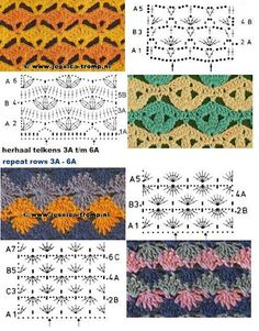 crochet stitch pattern charts, not english