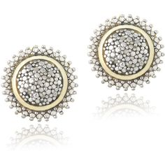 DB Designs 18k Gold Over Silver 1/10ct TDW Diamond Sunburst Earrings (190 DKK) ❤ liked on Polyvore featuring jewelry, earrings, yellow, gold diamond earrings, long silver earrings, yellow diamond earrings, silver stud earrings and diamond earrings