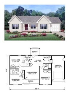 Exclusive COOL House Plan ID: chp-39172   Total Living Area: 1150 sq. ft., 3 bedrooms and 2 bathrooms.
