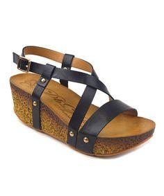 Look at this #zulilyfind! Black Crisscross Houn Wedge Sandal by Elegant Footwear #zulilyfinds