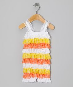 Take a look at this Yellow & Orange Candy Corn Lace Ruffle Romper - Infant & Toddler on zulily today!