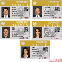 """His first name is Agent."" – Tony Stark Scope out the declassified badges featuring the stars of the upcoming Marvel's Agents of S. series on ABC Tuesday nights this fall! Marvel E Dc, Marvel Heroes, Marvel Avengers, Hail Hydra, Tony Stark, Heros Comics, Avengers Shield, Melinda May, Ming Na Wen"