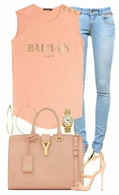 A fashion look from May 2016 featuring Balmain tops, Anine Bing jeans and Giuseppe Zanotti sandals. Browse and shop related looks. Mode Outfits, Chic Outfits, Summer Outfits, Fashion Outfits, Womens Fashion, Fashion Tips, Fashion Trends, Casual Chic, Casual Wear