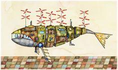 クジラ型飛行船のイラスト