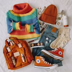 Two rainbow sweaters which to choose? Cute Casual Outfits, Retro Outfits, Vintage Outfits, Fashion Moda, Cute Fashion, Fashion Outfits, Pop Punk Fashion, Kawaii Fashion, Fasion