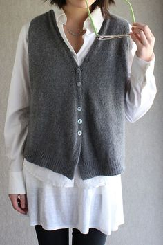 Nancy's vest. The link is for a kit to make it, but I think the right sweater could have its sleeves removed and look a lot like this.