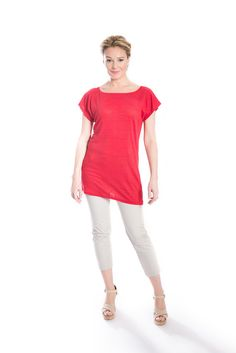 Jennifer Fukushima - Lilium Linen Jersey Tunic - Red - Poppy - Boat Neck - Short Sleeve - Ecofashion - Semi Sheer