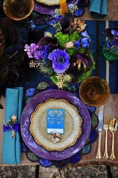 Gorgeous purple, blue & green #tablescape #design