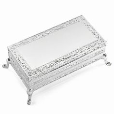 Silver-plated Rectangle Floral Jewelry Box #gifts #jewelrybox #silver #rectangle #floral