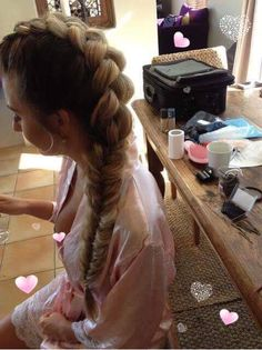 External pull through braid, loosened, morphs into fishtail braid. Done by JMS Hair at home https://m.facebook.com/JMS-Hair-at-Home-222512724838709/