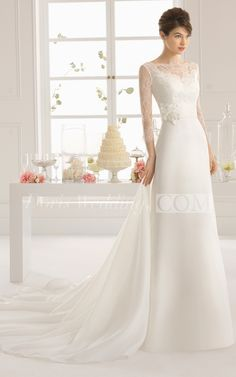 Sexy A-Line Long Lace Wedding Dress With Sleeves, Illusion Back and Long Sleeves. Lace Bridal Gowns, cheap simple custom made wedding dresses 2016 , vintage wedding dresses with sleeves. #lace #sleeves #long #weddings. #DorisWedding.com