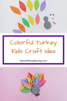 Colorful Turkey Kids Craft Idea with free printables   #turkey #thanksgivingcraft #kidscraftidea #craft