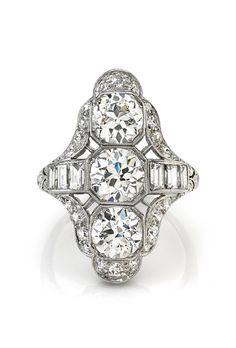 Brides.com: . Style R1826, 3.5 carats old European-cut diamonds set in a vintage platinum mounting circa 1920, price upon request, Single Stone