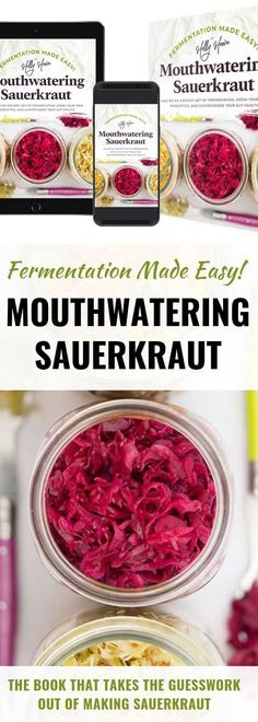 Learn to ferment sauerkraut like a pro in no time, enjoy flavorful sauerkraut, and reap the benefits of improved digestion with best-selling book, Fermentation Made Easy! Making Sauerkraut, Fermented Sauerkraut, Homemade Sauerkraut, Fermented Cabbage, Sauerkraut Recipes, Fermented Foods, Nourishing Traditions, Wonderful Recipe, Evening Meals