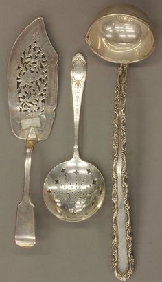 GROUPING OF (3) VICTORIAN STERLING SILVER SERVING ITEMS #SterlingSilverServingPieces
