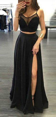 Simple Two Piece Black Prom Dress - Spaghetti Straps Floor-Length Split Front