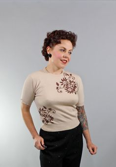 1950s Vintage SweaterIMPLACABLE HEART Mad Men by stutterinmama, $68.00