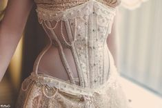 """""""Champagne"""" bobbinet underbust by Crimson Rose Corsetry (from $360). Photo: WeNeal's Photography"""