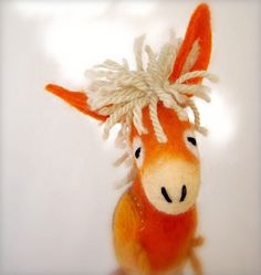 Augustina - Felt Donkey. Art Animal Marionette,  Puppet, Felted Animals, Stuffed Toy. orange yellow beige cream. Special order for Rebecca by TwoSadDonkeys on Etsy https://www.etsy.com/listing/118029080/augustina-felt-donkey-art-animal