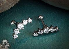 Five-gem cluster tragus or cartilage barbell