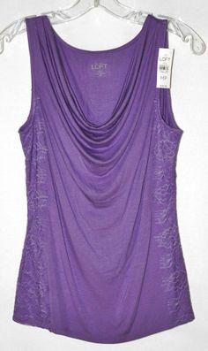 Ann Taylor Loft Sleeveless Scoop Neck Lace Trim Lavender Knit Blouse Sz M P NWT