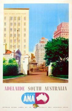 Adelaide South Australia ANA, 1955 - original vintage poster listed on AntikBar.co.uk